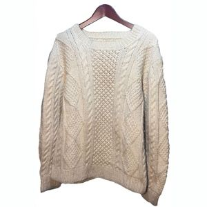 Aran White Wool Hand-knit Crewneck Sweater Size L